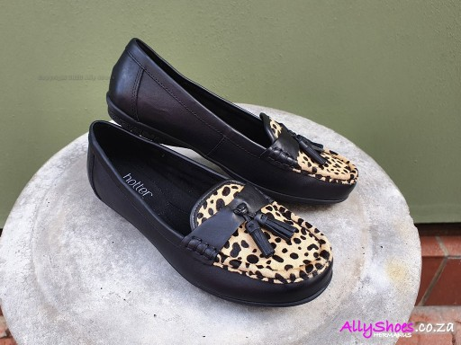 Hotter, Abbeyville, Black Leopard, Leather & Suede