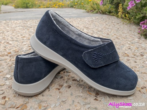Hotter, Wrap, Navy, Suede